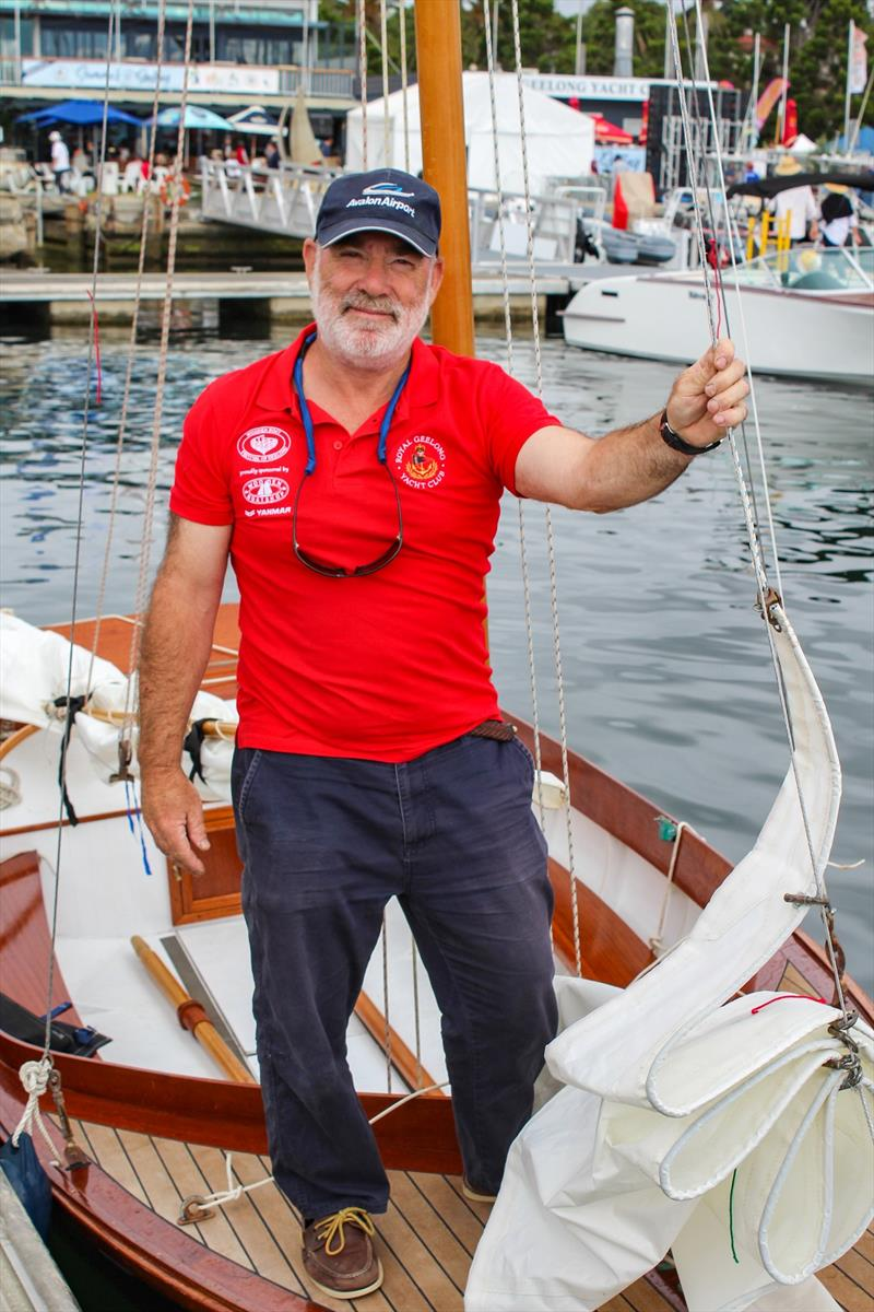 Steve Adler onboard his 'Larrikin of Lyme' at the Wooden Boat Festival of Geelong. photo copyright Sarah Pettiford taken at Royal Geelong Yacht Club and featuring the Classic & Vintage Dinghy class