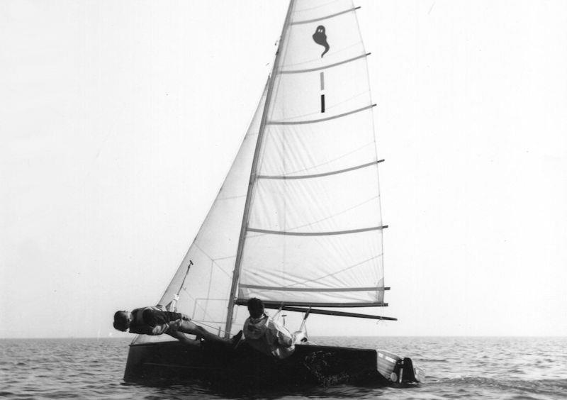 The fully battened high aspect rig of the Ghost dinghy was certainly powerful but not easy to use photo copyright Gregory Family taken at  and featuring the Classic & Vintage Dinghy class