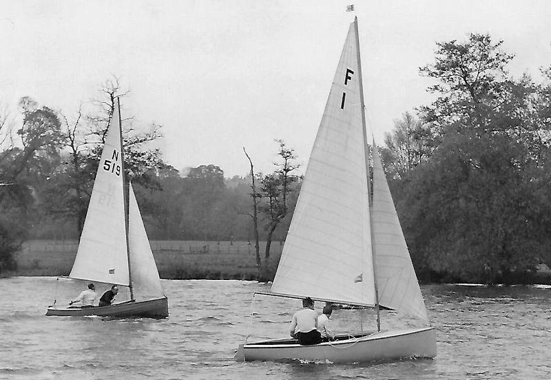 The prototype Firefly is trialled against a National 12 photo copyright Currey Family taken at  and featuring the Classic & Vintage Dinghy class