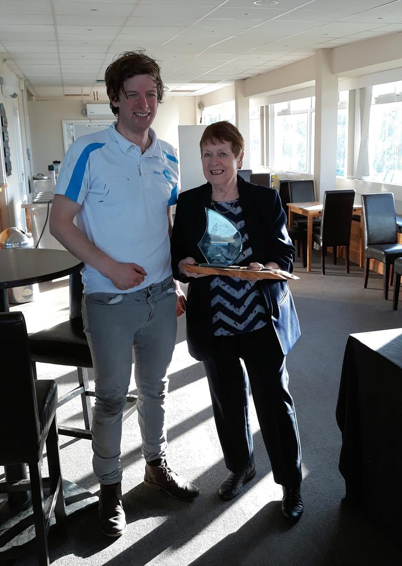 Paul Grattage is presented the Chris Black Trophy by Judith Black photo copyright Jon Pearse taken at Grafham Water Sailing Club and featuring the Sprint 15 class