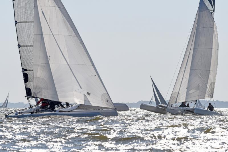 Gaetana 3 continues to lead over 3 Wise Monkeys in the Diam 24 multihull class - 2018 Vice Admiral's Cup - photo © Rick Tomlinson