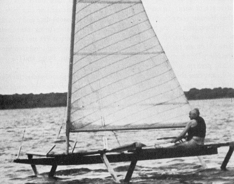 Although there had been a number of interesting an innovative attempts to get a sail powered foiler, it would be John Baker who finally cracked the problems and though he could get enough power from the fully battened mainsail, the control wasn't good - photo © Baker Water Systems