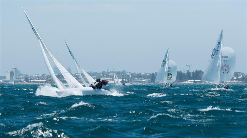 Race 6 on day 4 of the 2019 Dragon World Championship photo copyright Tom Hodge Media taken at Royal Freshwater Bay Yacht Club and featuring the Dragon class
