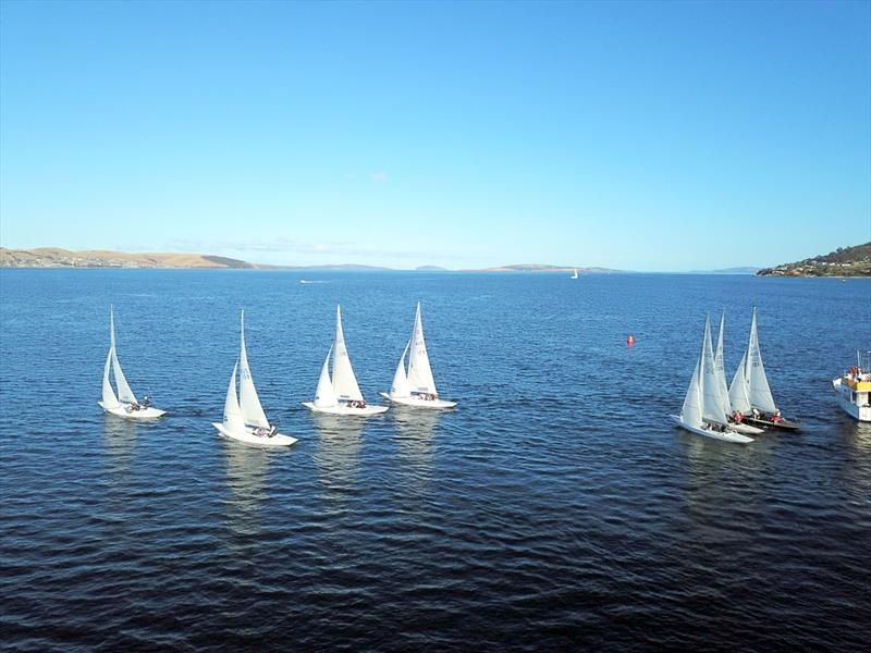 Drone image of the start of a race in the Tasmanian Dragon Championship - photo © Steven Shield