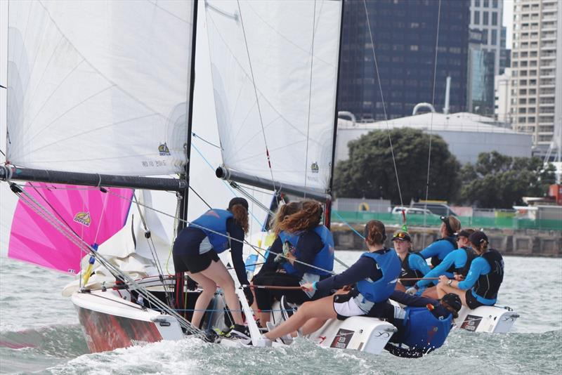 Willison leads Costanzo in Semi Final - Final day, NZ Womens Match Racing Championships, Day 4, February 12, 2019 photo copyright Andrew Delves taken at Royal New Zealand Yacht Squadron and featuring the Elliott 6m class