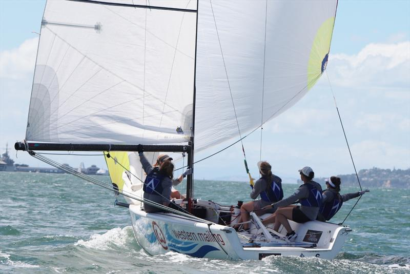 Blecher downwind - Final day, NZ Womens Match Racing Championships, Day 4, February 12, 2019 - photo © Andrew Delves