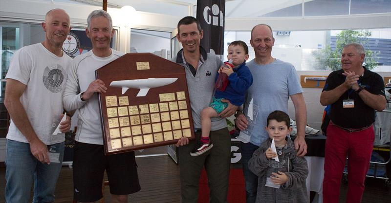 (l-r) Greg O'Shea, Ivan Wheen, Tom King, David Edwards, RQYS Commodore Mark Gallagher, and Tom's children during the 2018 Etchells Queensland State Championship prize-giving in Brisbane - photo © Kylie Wilson / www.PositiveImage.com.au