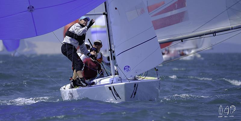 At work on The Cure on day 5 of the 2018 Etchells World Championship - photo © Mitchell Pearson / SurfSailKite