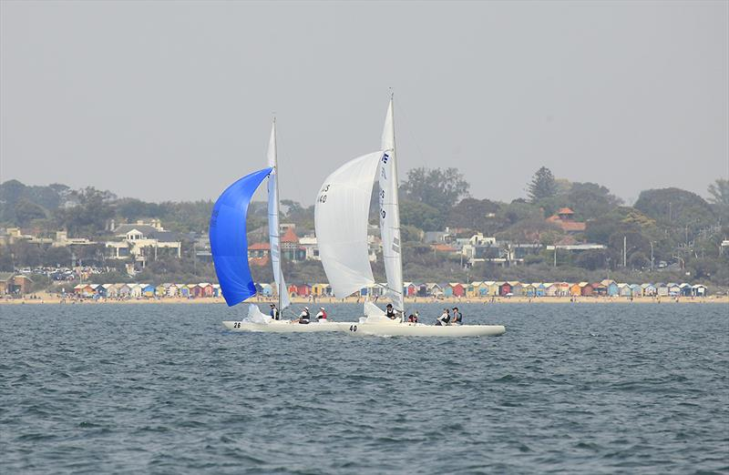 Shoulda Gone Left and Highlander duke it out on the run back down the beach on day 2 of the 2020 Etchells Australian Championship - photo © John Curnow