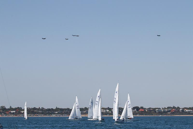 Aerial entertainment whilst they waited for Race One to start - photo © Alex McKinnon Photography