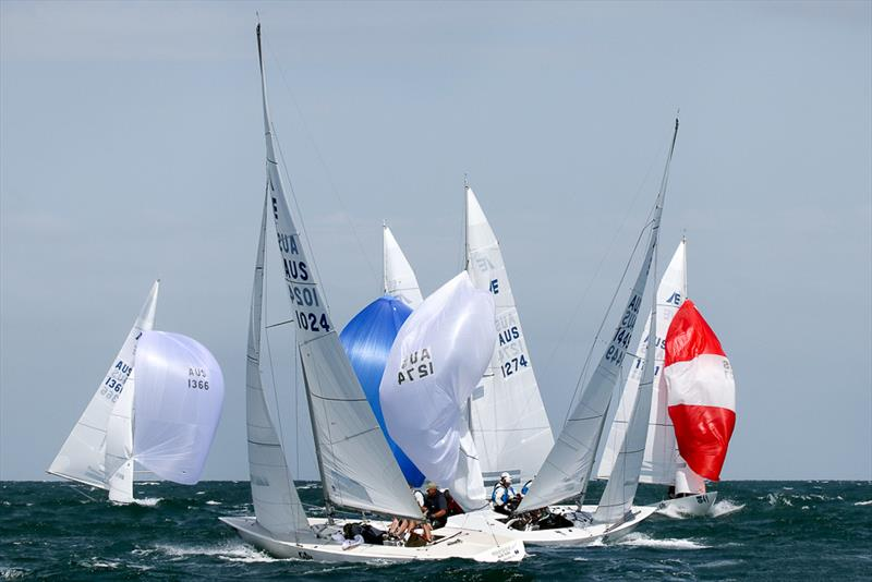 Very busy at the bottom mark with the close racing today. - photo © Alex McKinnon Photography