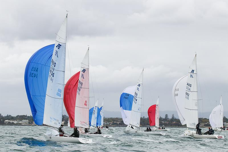 The fleet make their way to the leeward gate in the first race of the day - photo © Alex McKinnon Photography