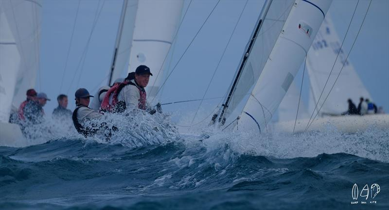 On heavier days, the Etchells is one wet boat! - photo © Mitchell Pearson / SurfSailKite