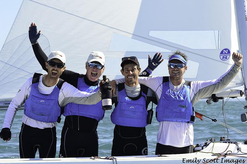Julian Plante, Martin Hill, Mat Belcher and Sean O'Rourke after winning the 2018 Etchells World Championship - photo © Emily Scott Images