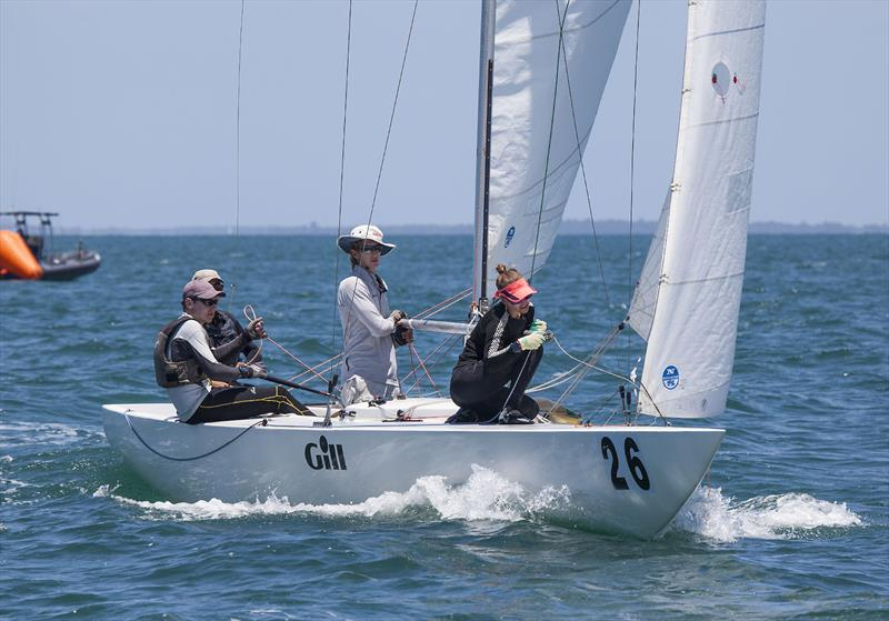 Youth sailors aboard Tumba Rumba (Simone Wood, Thomas Quigley, Adam Lavis and Samantha Costin) on day 1 of the Etchells Australian Championship - photo © John Curnow