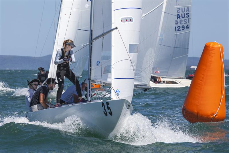 Kate Deveraux on the brace on 1435, with Jeanne-Claude helming, Seve Jarvin on the main, and Marcus Burke getting the spinnaker ready on day 2 of the Etchells Australian Championship - photo © John Curnow