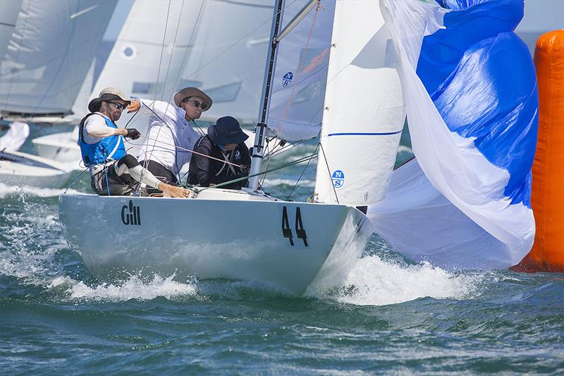 Just 2 Funny, James Hodgson, Trevor Martin, and Stuart Kennedy, getting the spinnaker set on day 2 of the Etchells Australian Championship - photo © John Curnow