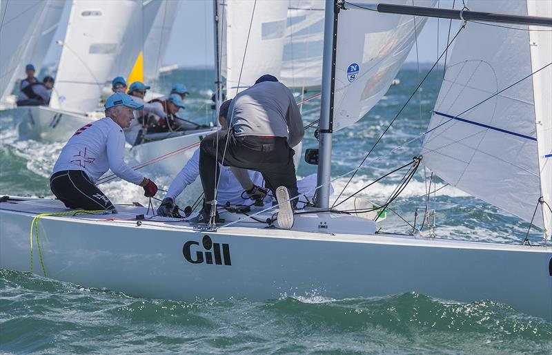 Noel Drennan, Billy Merrington and Lewis Brake on Les Freaks Sont Chic on day 3 of the Etchells Australian Championship photo copyright John Curnow taken at Royal Queensland Yacht Squadron and featuring the Etchells class