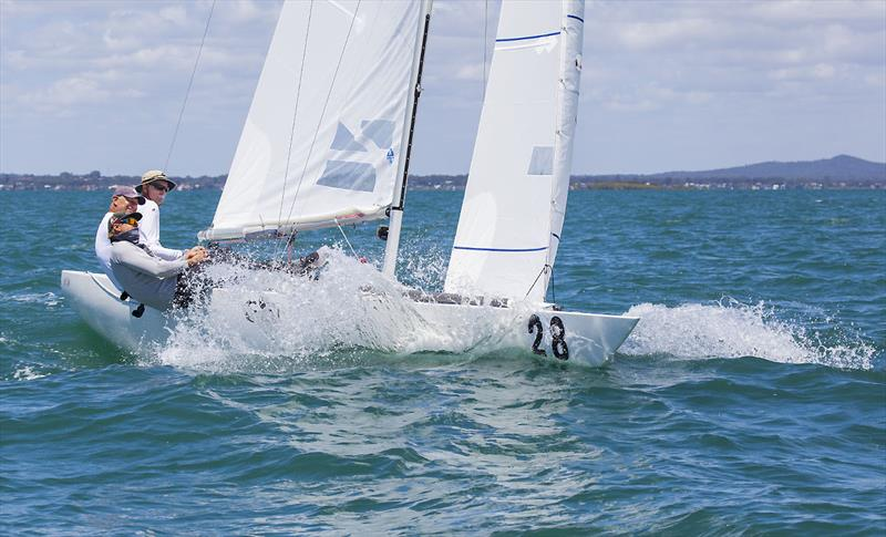 Noel Drennan with Billy Merrington and Lewis Brake on Les Freaks Sont Chic on day 4 of the Etchells Australian Championship photo copyright John Curnow taken at Royal Queensland Yacht Squadron and featuring the Etchells class