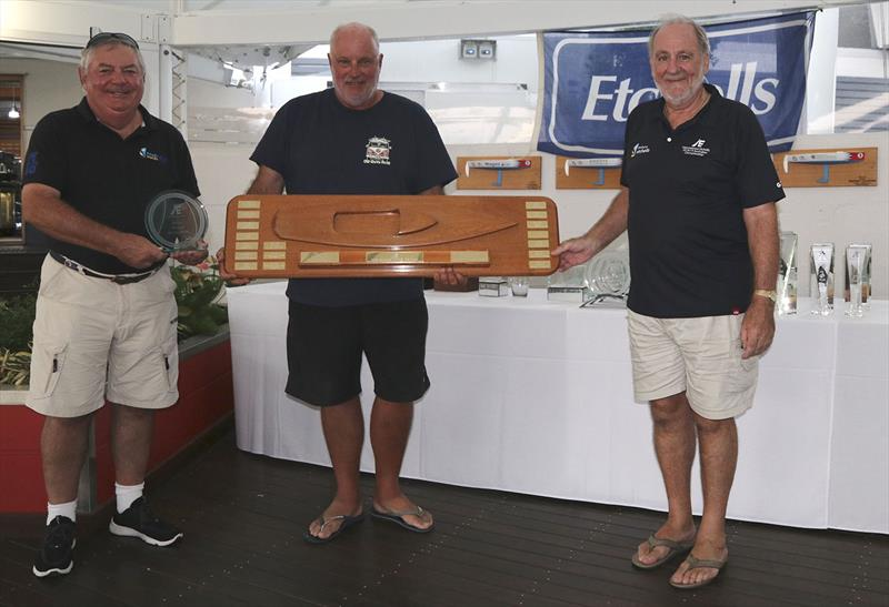 Mark Gallagher, Commodore RQYS, Iain Murray, and David Healey, Life Member IECCA - photo © John Curnow