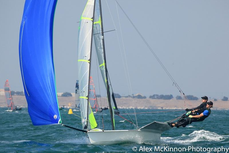 Sic Em Rex skippered by Oliver Manton and crewed by Jack Lloyd from Royal Geelong Yacht Club on the way to the finish of race 3 - Etchells and 9er Championship, Day 1 photo copyright Alex McKinnon Photography taken at Royal Geelong Yacht Club and featuring the Etchells class
