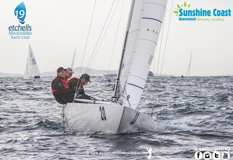 All smiles on board Magpie after taking the lead in race six - 2019 Etchells Australasian Championship - photo © Nic Douglass / www.AdventuresofaSailorGirl.com