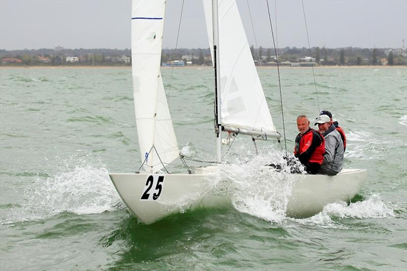 Walk on Water - you did not need to - it came to you! Brett heath, Glenn Norton, Andrew Poulton - 2020 Etchells Australian Championship day 4 - photo © John Curnow