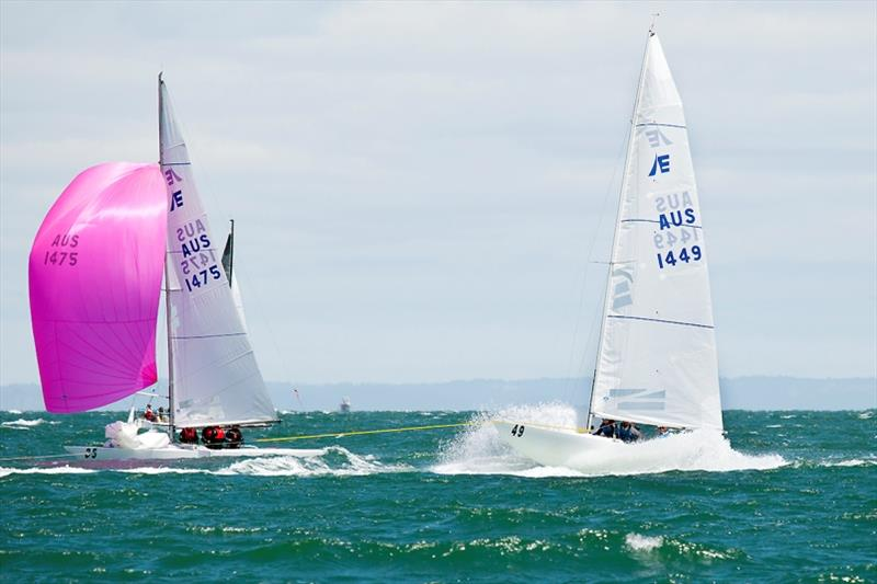 Apart from Magpie, Lisa Rose won the race to the crane. - 2020 Etchells Australian Championship, final day - photo © John Curnow
