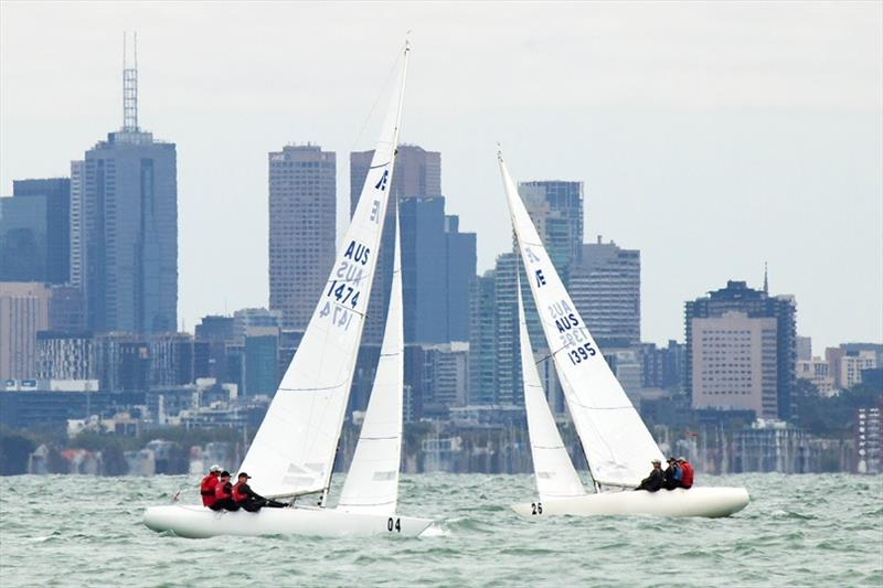 Magpie and Shoulda Gone Left in front of Melbourne's CBD - 2020 Etchells Australian Championship, final day - photo © John Curnow