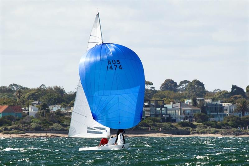 Magpie (Graeme Taylor, James Mayo, and Tom Slingsby) head out to the course in what was the windiest part of the day. - Etchells Victorian Championship 2020 - photo © John Curnow