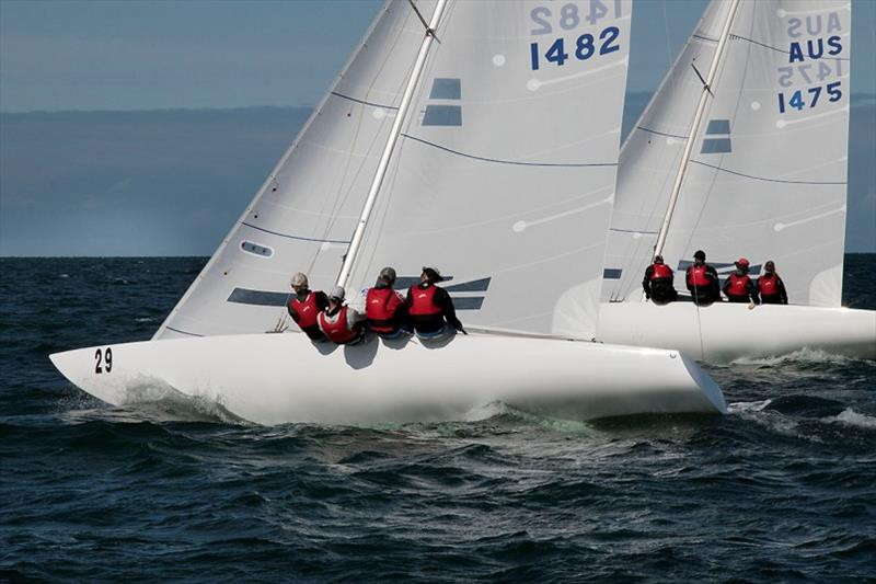 Racer CC and Flying High work to windward. - Etchells Victorian Championship 2020 - photo © John Curnow