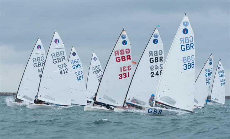 Start of Race 1 on Day 1 at the 2021 UK Europe National Championships - photo © Linus Etchingham