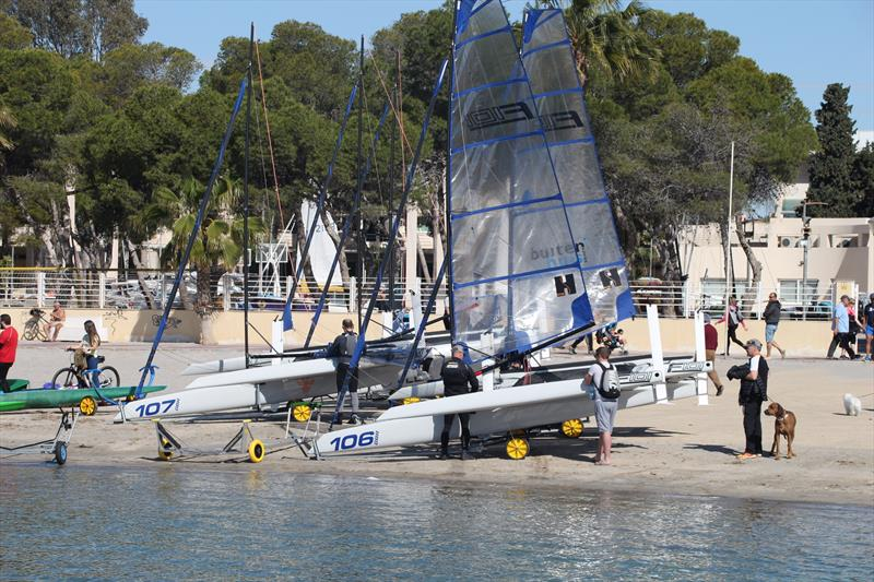 F101's Preparing to launch at Mar Menor, Spain - photo © Foiling World