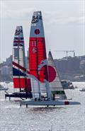 Team Japan and Team Great Britain drive upwind - 2019 Sail GP Championship Sydney