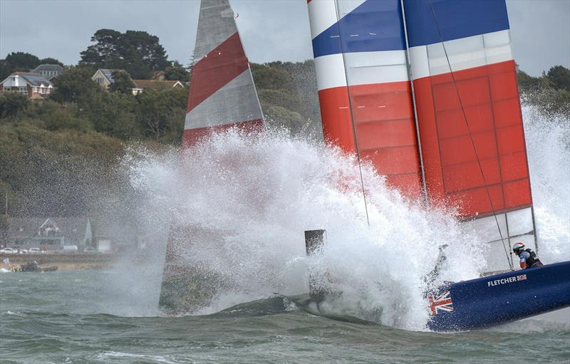 Great Britain SailGP Team nose dive during the first official race of Cowes SailGP causing extensive damage to their F50 - photo © Chris Cameron for SailGP