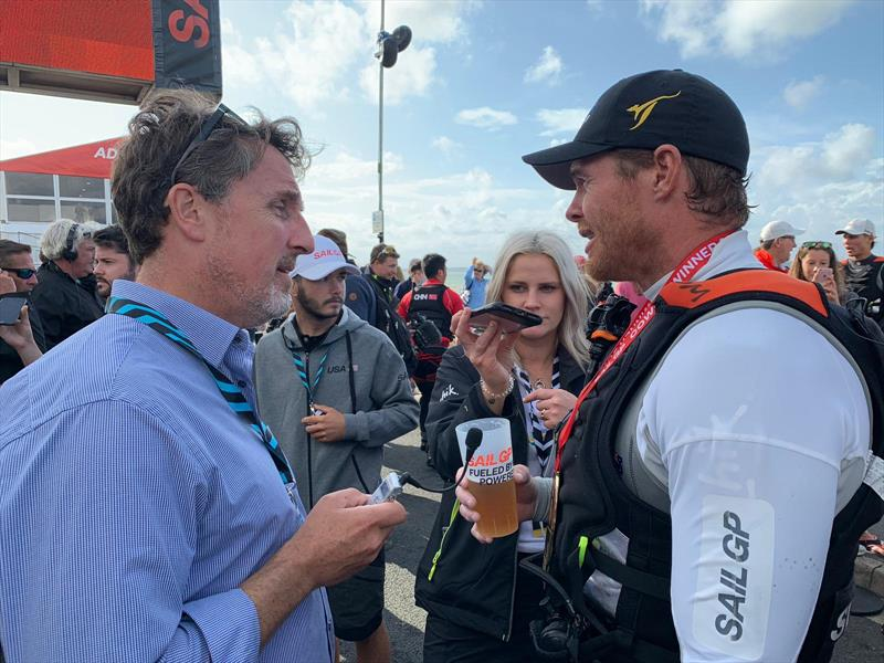 Tom Slingsby interviewed by Andy Rice - photo © SailJuice