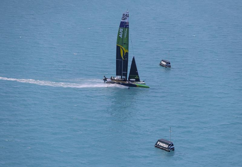 Australia SailGP Team helmed by Tom Slingsby crossing the finish line during the Bermuda SailGP presented by Hamilton Princess - photo © Simon Bruty for SailGP