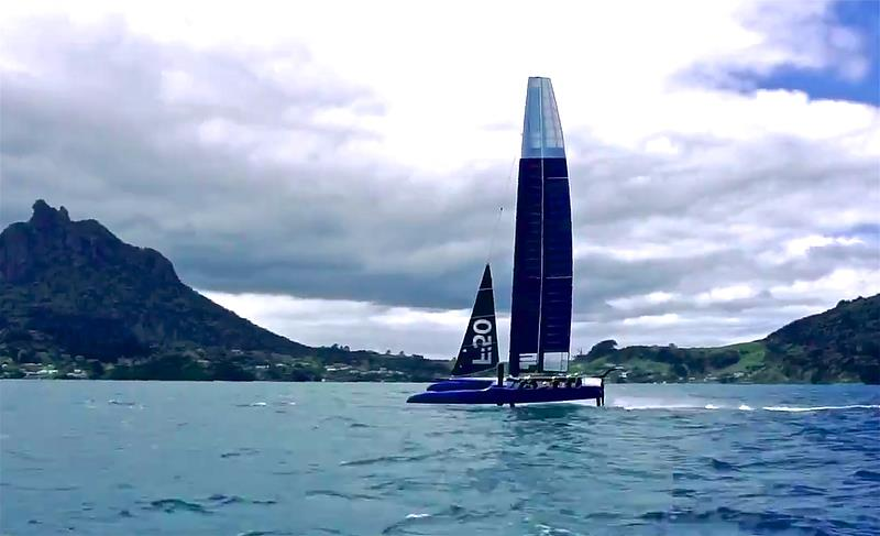 F-50 First test Sail - Sailing on Bream Bay - looks very clean with minimal spray off rudder foil - photo © Beau Outteridge
