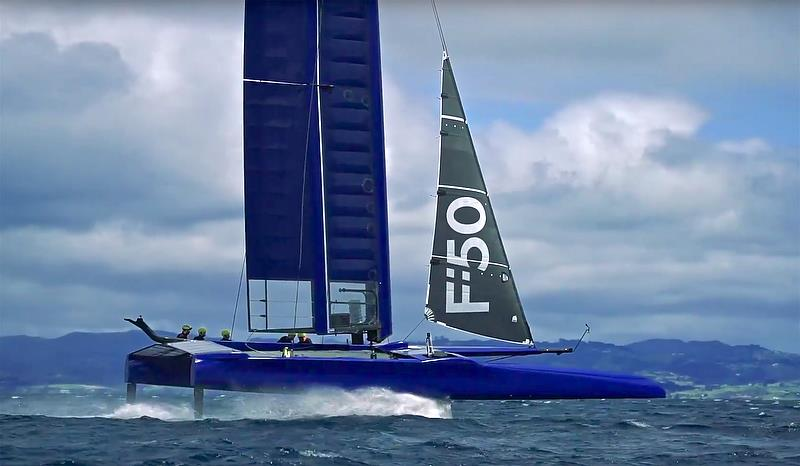 F-50 First test Sail - The money shot - absolutely flying in what appears to be a 15kt breeze - photo © Beau Outteridge