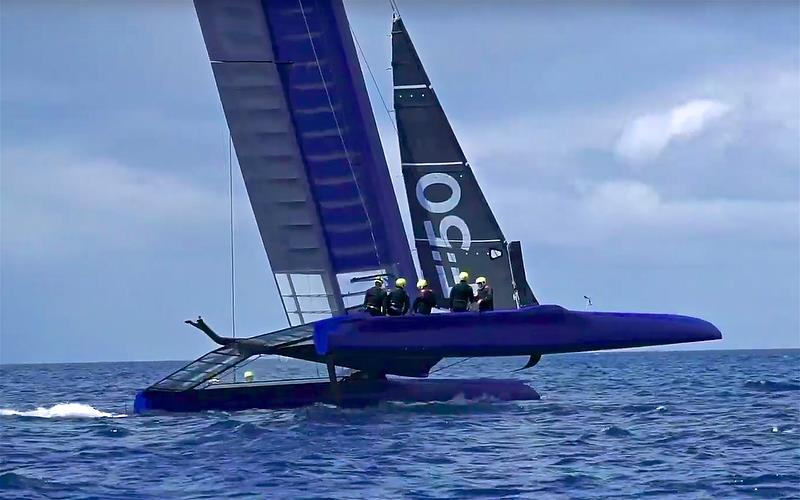 F-50 First test Sail - flying a hull - a look from 45 degree angle at the daggerboards. The aft camera stalk is in the same place as the AC50, crew are semi-hiking, oblivious to windage same as several crews (except ETNZ) were in the 2017 America's Cup. - photo © Beau Outteridge