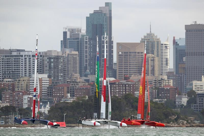 Great Britain SailGP Team, Australia SAILGP Team, China SailGP Team all chasing Japan SailGP Team skippered by Nathan Outteridge on the final day of practice. Event 1 Season 1 SailGP event in Sydney Harbour, Sydney, Australia. - photo © Mark Lloyd / SailGP