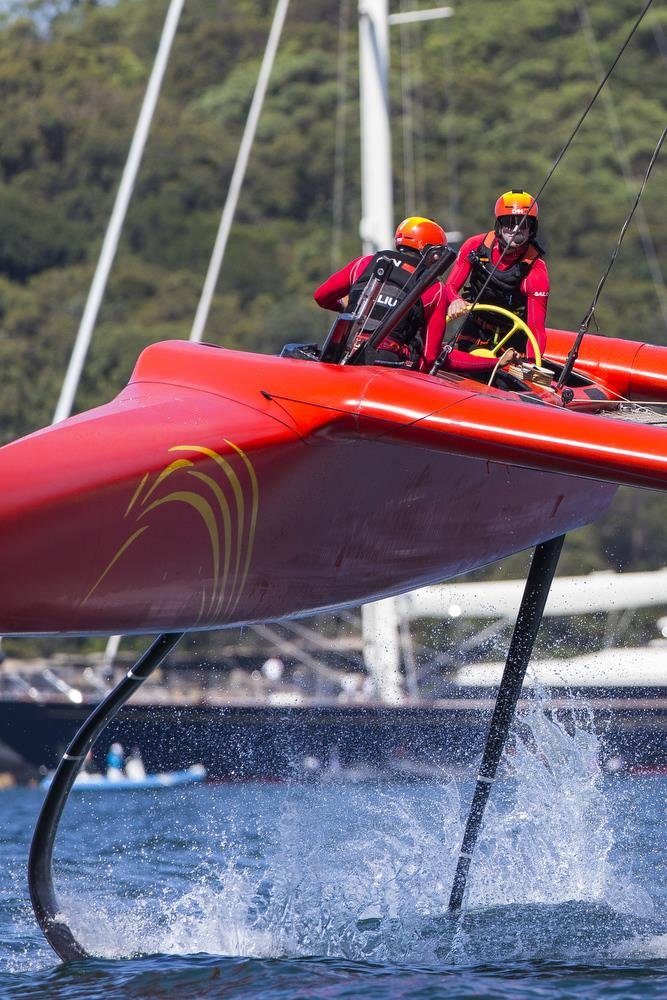 Team China, like all the crews, was working hard to foil as much as possible in the light and variable conditions - photo © Andrea Francolini