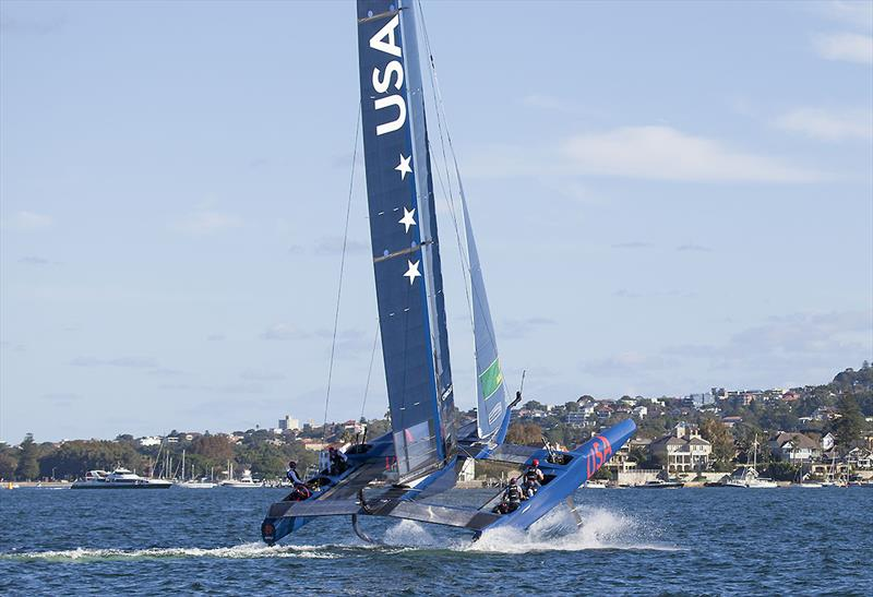 Looks cool, but is not fast and can go more than little awry as well! Team USA during Day One of the inaugural SailGP on Sydney Harbour - photo © John Curnow
