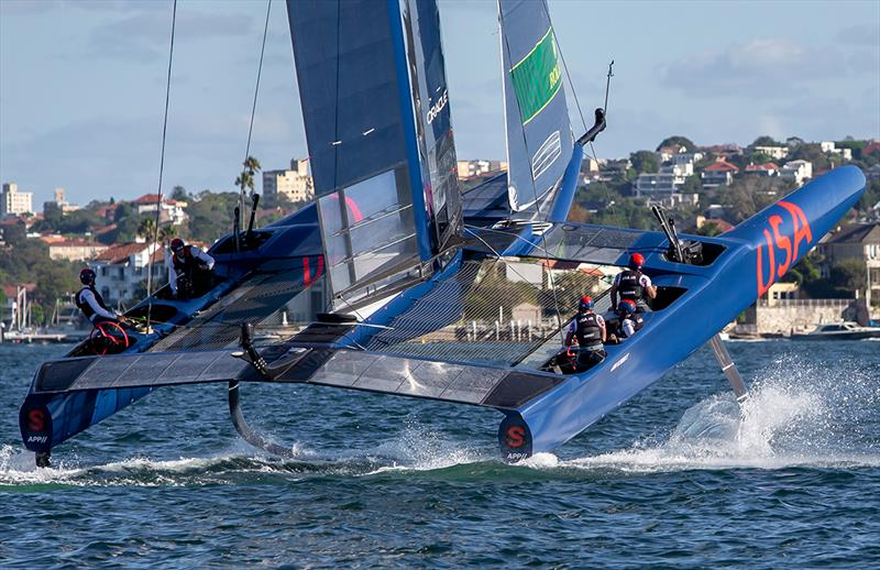 USA SailGP puts on wheelstand as she exits a gybe - photo © Crosbie Lorimer
