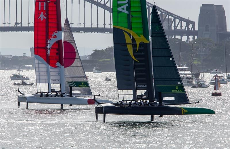 Team Japan & Team Australia powering across the Harbour - Sail GP Championship Sydney - photo © Crosbie Lorimer / Bow Caddy Media