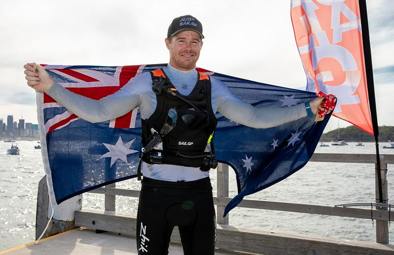 Victorious skipper Tom Slingsby on the Shark Island dock after the stage presentation - 2019 Sail GP Championship Sydney - photo © Crosbie Lorimer