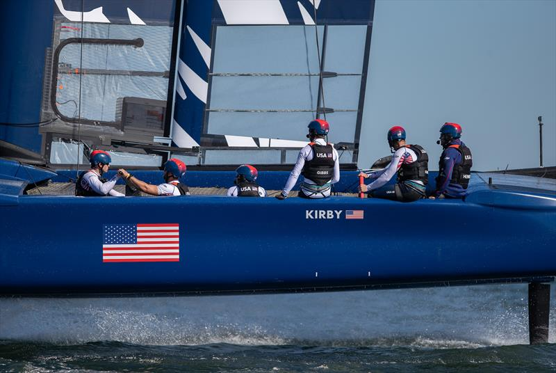 The United States SailGP Team skippered by Rome Kirby training on their F50 catamaran during their first planned practice session. - photo © Jed Jacobsohn for SailGP
