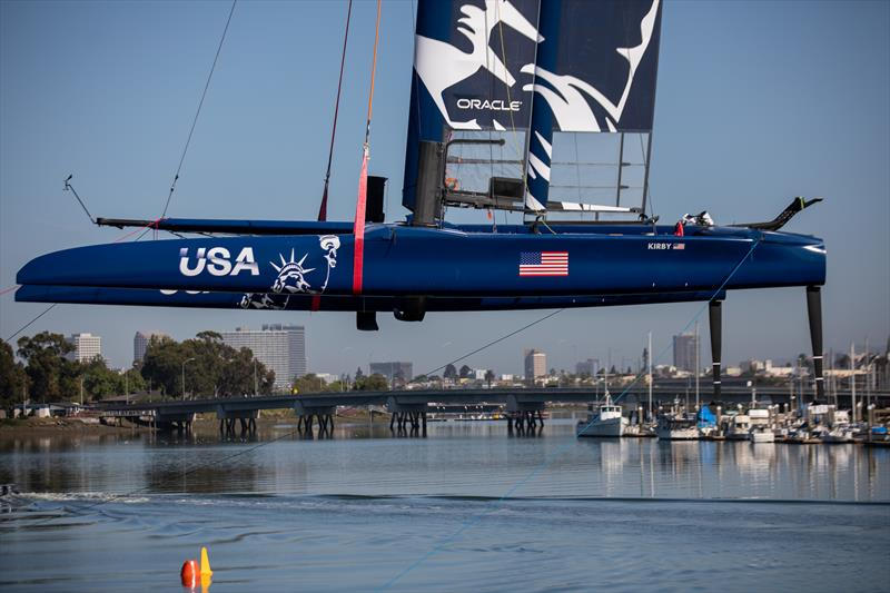 The Team USA F50 catamaran being lowered into the water ahead of a practice session. Race 2 Season 1 SailGP event in San Francisco, California, United States. 22 April .  - photo © Jed Jacobsohn for SailGP