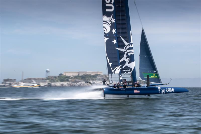 Rome Kirby pilots the USA SailGP Team F50 in front of Alcatraz Island during race condition practice day. - photo © Matt Knighton