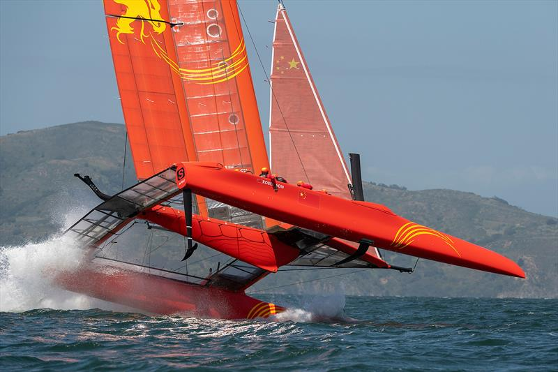 Team China foil a high and crash resulting in a damaged wing. Practice race day, Event 2, Season 1 SailGP event in San Francisco, California - photo © Chris Cameron for SailGP